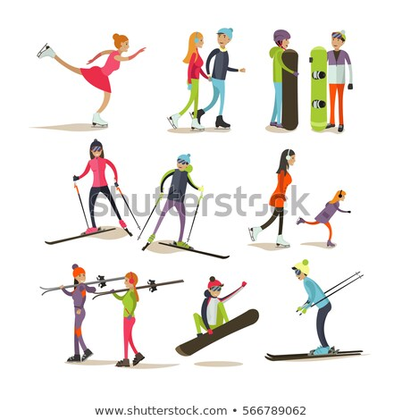 child figure on skis vector flat illustration stock photo © vectorikart