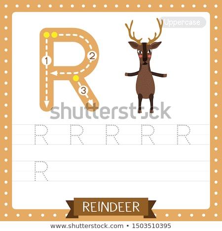 R betű rénszarvas illusztráció gyerekek gyermek háttér Stock fotó © bluering