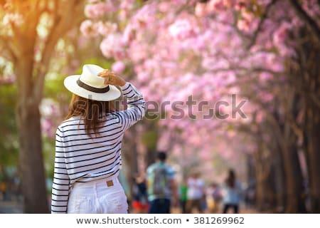 moda · kız · gri · elbise · şapka · portre - stok fotoğraf © artfotodima