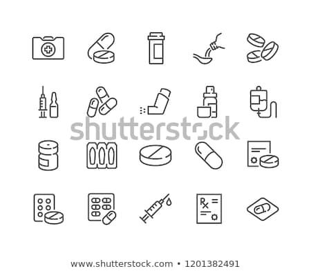 Médication symboles médicaux icônes blanche texte Photo stock © creatOR76