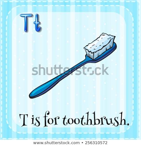 Letra t cepillo de dientes ilustración ninos nino fondo Foto stock © bluering