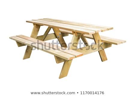 Houten picknicktafel witte illustratie achtergrond stoel Stockfoto © bluering