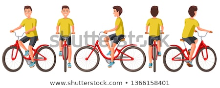 vector illustration of biker riding bicycle stock photo © orson