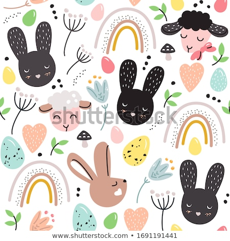 Easter eggs and rabbits. Bright colors. Digital art Stock photo © amok