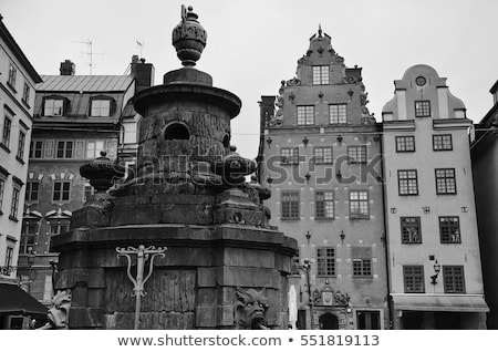 statue with water outlets at stortorget stockholm sweden stock photo © vladacanon