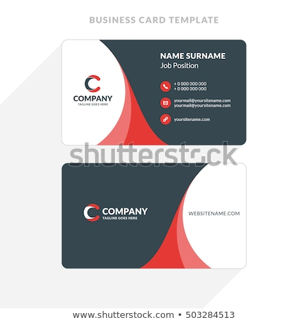 red black corporate business card template vector design illustr Stock photo © SArts