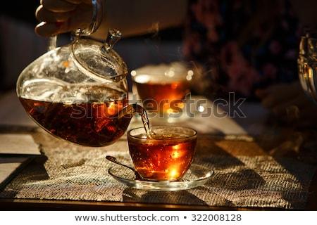 Fincan çay demlik ahşap masa restoran sıcak Stok fotoğraf © frimufilms