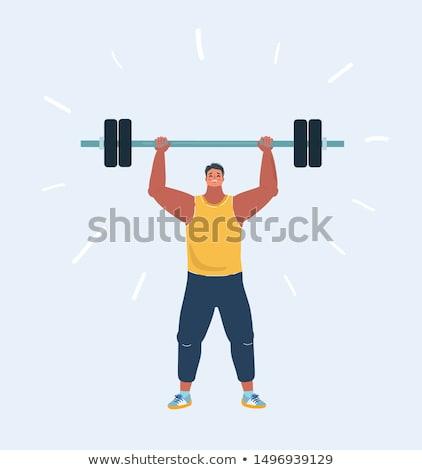adam · egzersiz · halter · uygunluk · stüdyo · tam · uzunlukta - stok fotoğraf © yatsenko