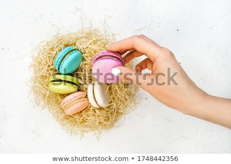 Citromsárga mandula torta kéz étel háttér Stock fotó © Sibstock