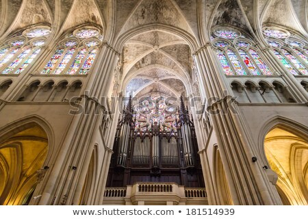 stained glass window with organ pipes stock photo © kyolshin