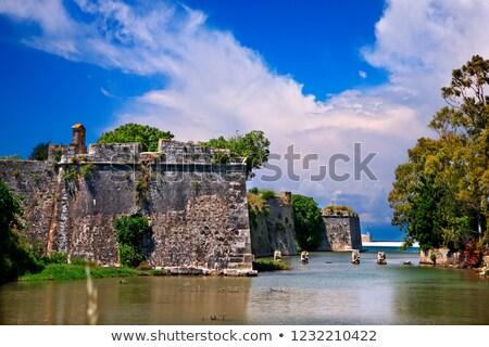 Moat and walls of the Venetian Castle of Agia Mavra - Greek island of Lefkada Stock photo © ankarb