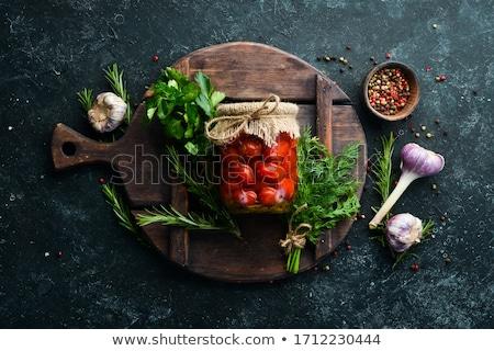 Marinált paradicsomok étel háttér konyha asztal Stock fotó © yelenayemchuk
