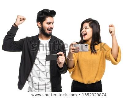 Stock fotó: Lezser · pár · ünnepel · siker · kezek · levegő