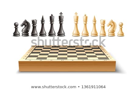 Chess set vector illustration on white background with a chessboard Stock photo © m_pavlov