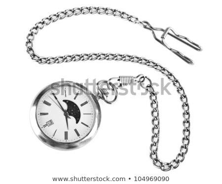 Foto stock: Antiquado · latão · relógio · de · bolso · isolado · branco · abrir