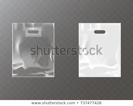 Plastic Pocket Vector Blank. Packing Design. Realistic Mock Up Template Of White Plastic Pocket Bag. Stock photo © pikepicture