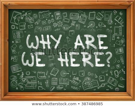 why are we here   hand drawn on green chalkboard stock photo © tashatuvango