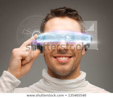 Férfi futurisztikus szemüveg emberek kibertér jövő Stock fotó © dolgachov