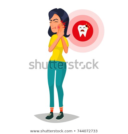 Mulher dor de dente vetor triste infeliz menina Foto stock © pikepicture