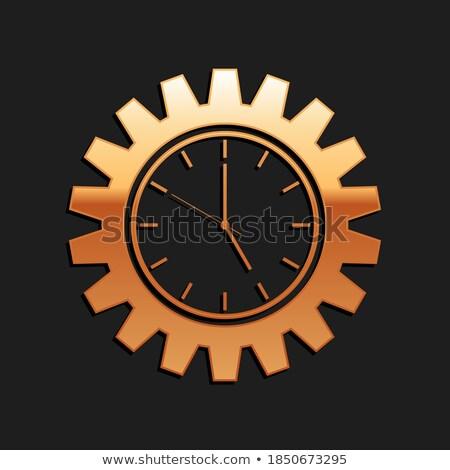 Stockfoto: Uitrusting · beheer · gouden · metalen · cog · versnellingen