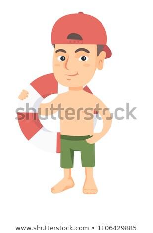 desenho · animado · menino · natação · água · ilustração - foto stock © rastudio