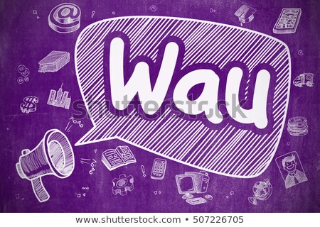 Wau - Doodle Illustration on Purple Chalkboard. Stock photo © tashatuvango