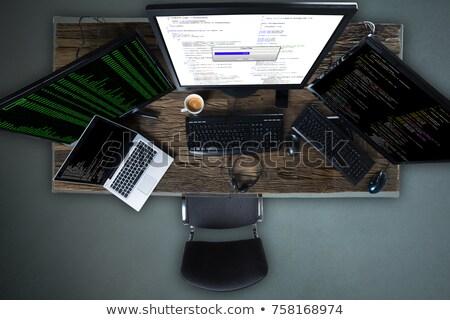 Stock fotó: Multiple Computer Screen Showing Progress Bar Of Copying Files