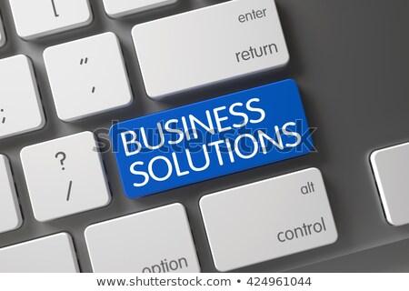 ストックフォト: Business Goals Analysis - Aluminum Keyboard Concept 3d