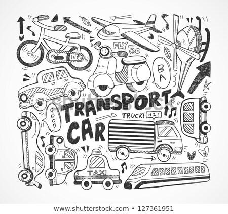 helikopter · rajz · ikon · háló · mobil · kézzel · rajzolt - stock fotó © rastudio