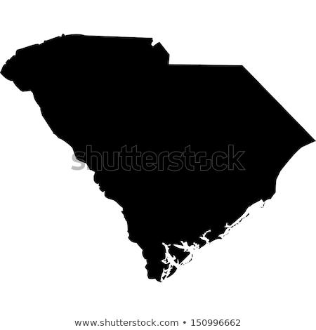 Kaart South Carolina achtergrond witte lijn USA Stockfoto © rbiedermann