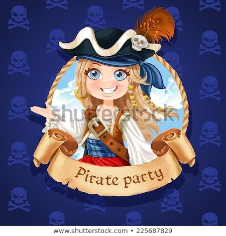 Pirate fille parchemin illustration carte enfant Photo stock © adrenalina