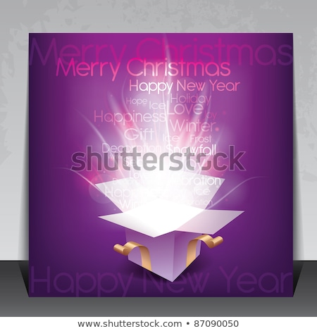 Pink gift box on dark background. Vector illustration. stock photo © Leo_Edition