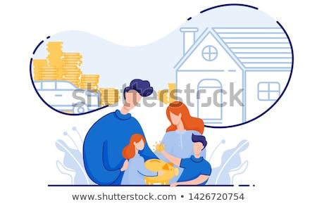 Takarékosság pénz kihívás személy toló felfelé Stock fotó © Lightsource