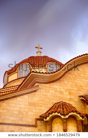 Cross on orthodox chapel roof in Cyprus stock photo © Mps197