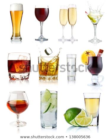 ストックフォト: エレガントな · 眼鏡 · ボトル · 黄色 · シャンパン · 泡