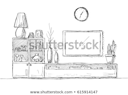 Linear sketch of the interior. Dresser with TV and shelves. Vector illustration Stock photo © Arkadivna