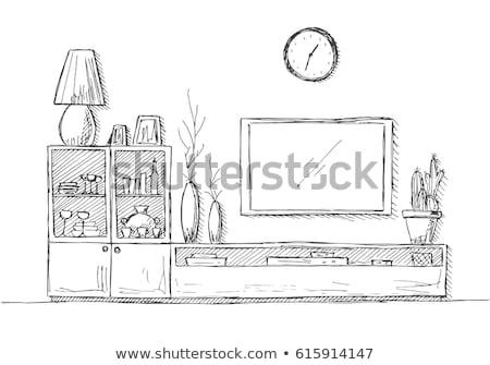 линейный эскиз интерьер телевизор Полки Сток-фото © Arkadivna