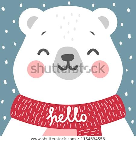 aranyos · jegesmedve · vágási · körvonal · medve · rajz · clip · art - stock fotó © rwgusev