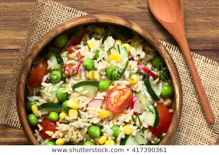Stok fotoğraf: Pirinç · salata · domates · salatalık · arka · plan