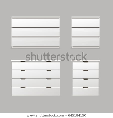 drawer, nightstand or bedside table with handles front view. vector isolated on modern background. Stock photo © kyryloff