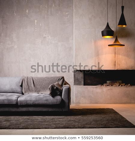 Nice интерьер чердак стиль серый стен Сток-фото © bezikus