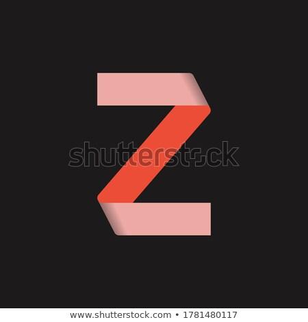Stock photo: Red Folded Paper Letter Z Vector Illustration