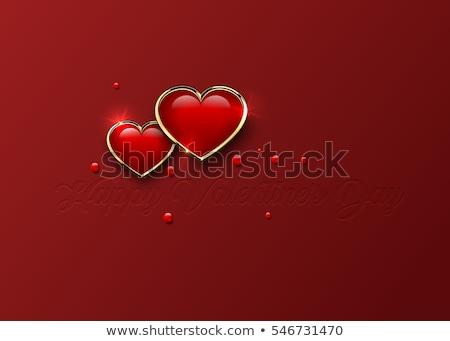 Stock fotó: Valentin · nap · fényes · piros · arany · szívek · sötét