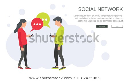 Social network and chatting vector. Global communication, e mailing, web calls. Lap top with speech  Stock photo © makyzz