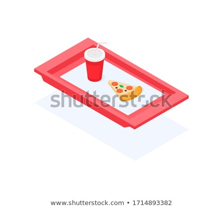 Fast food icon, piece of pizza and soda water cup Stock photo © MarySan