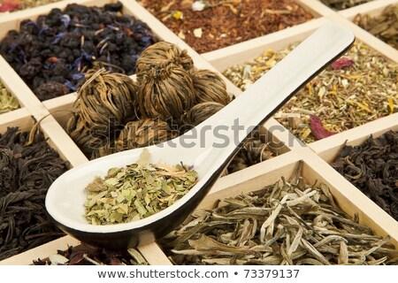 Kuru çay ahşap kutu yeşil Stok fotoğraf © dash