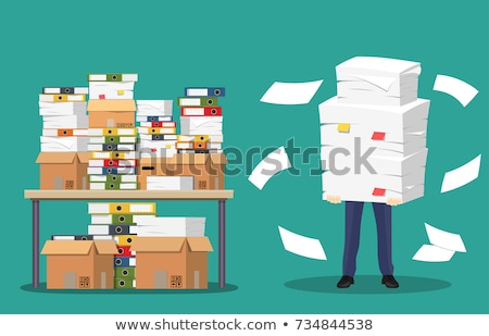 Businessman holds pile of office papers and documents. Documents and file. Routine, bureaucracy, big Stock photo © makyzz