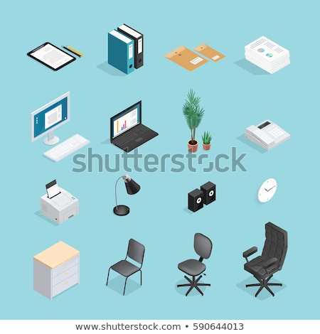 office supplies   modern vector colorful isometric elements stock photo © decorwithme