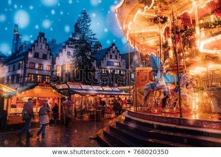 cidade · inverno · noite · trenó · paisagem - foto stock © liolle
