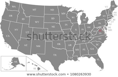 harita · Kuzey · Dakota · mavi · model · Amerika · kare - stok fotoğraf © kyryloff